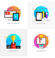 flat designed concepts - video tutorials read vector image