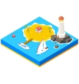 Isometric island with ship yacht and sea vector image