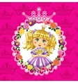 Little princess blonde on a pink background vector image