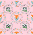watercolor cute animal pattern vector image