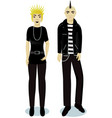 teenagers boy and girl in punk style vector image vector image