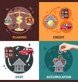 debt credit concept 4 flat icons vector image