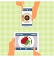 Man and woman and their food placed on gadgets vector image