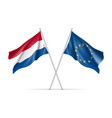 netherlands and european union waving flags vector image