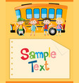 paper template with kids and school bus vector image