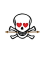 skull with hearts and arrows vector image