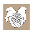 two cupped hands holding handful pile of pills vector image