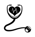 heart stethoscope medical care design vector image