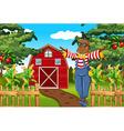 Scarecrow in the farmyard vector image