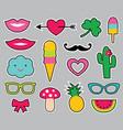 cartoon stickers set vector image vector image