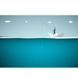 Fisher in paper boat Flat vector image vector image