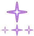 Purple line star logo design set vector image