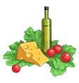 olive oil tomatoes salad and cheese vector image