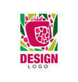 creative logo design with tropical fruit abstract vector image