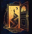 open door into a dream stairway to the sky vector image