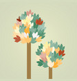 tree with leaves on green background vector image