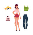 young woman girl and her summer tourist outfit vector image