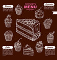 desserts and candy sweets menu infographics vector image