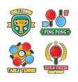 table tennis colorful logo labels poster on vector image vector image
