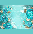 lacy background with turquoise roses vector image