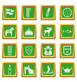 sweden travel icons set green vector image