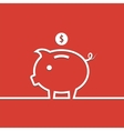Money piggy bank in line on red background vector image