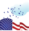 American flag with doves vector image