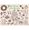 Big set of Christmas decorations in sketch style vector image