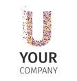 Alphabet particles logotype Letter-U vector image