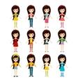 Beautiful cartoon fashion girl cloth vector image
