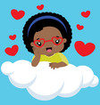 cute black girl with heart shaped glasses on cloud vector image