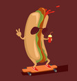 hot dog character vector image