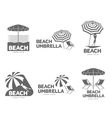 Logo templates with beach umbrella and sun bathing vector image