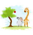 ram and giraffe vector image