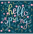 watercolor hand drawn hello spring greeting card vector image