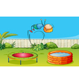 A boy playing trampoline vector image vector image