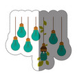 bulbs hanging with save bulb leaves icon vector image