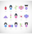 japan flat icon set vector image