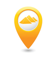 pyramid icon on map pointer yellow vector image