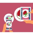 Man and woman are photographing their food in vector image