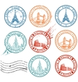 city stamps collection vector image