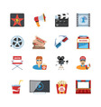 Cinema Flat Design Icons vector image vector image