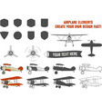 Vintage airplane symbols Biplane graphic vector image