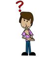 Cartoon man and a question mark vector image