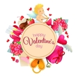 Circle shape template with Valentines Day icons vector image