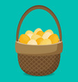 flat eggs in wicker basket vector image