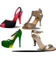 four pairs of fashion woman shoes vector image