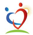 Hearts figures sun logo vector image