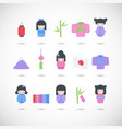 japan flat icon set vector image