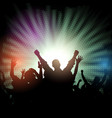 party crowd on starburst background vector image